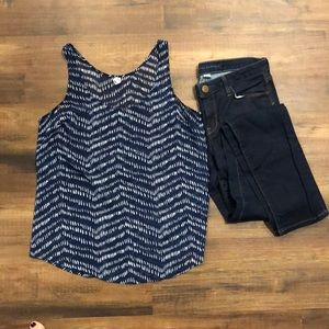 Old Navy blue white dotted tank